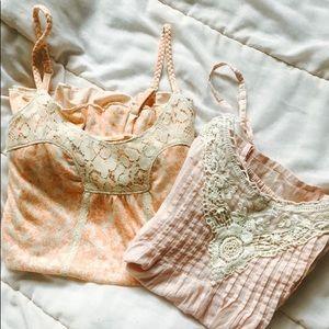 Bundle of Peach/Pink Strappy Mudd Tanks